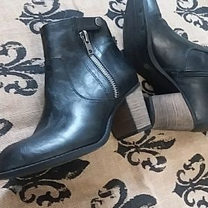 Crown Vintage   Booties With Zippers & Buckle